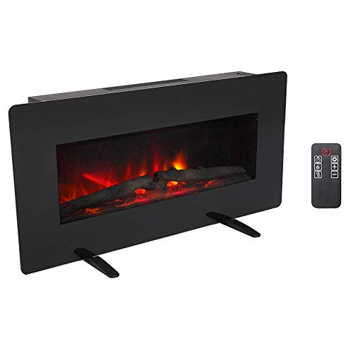 Zokop 36''W Wall Mounted & Freestanding Electric Fireplace Heater with Remote Controller, Realistic Color Flame, 3 Flame Brightness Levels for Home Room Indoor electric Fireplaces