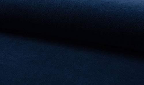 Qualitativ hochwertiger Nicki Stoff, Samt in unifarben Marine als Meterware zum Nähen von Erwachsenen, Kinder- und Baby Kleidung, 50 cm