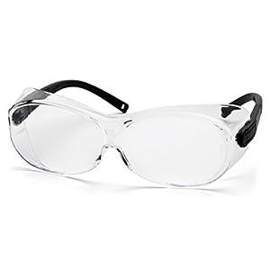 Pyramex OTS XL Safety Eyewear, Black Temples, Clear Lens