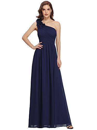 Ever-Pretty Vestito da Cerimonia Donna Chiffon A Fiori Una Spalla Stile Impero Senza Maniche Blu Navy 44