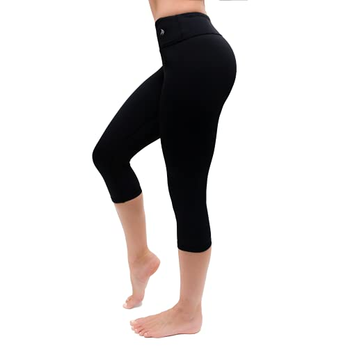 CompressionZ Compression Capri Leggings for Women - Yoga Capris Running Tights - High Waisted Pants (Black, L)