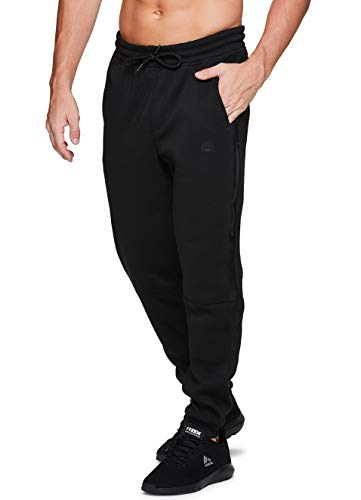RBX Active Mens Athletic Fleece Lined Tapered Jogger Sweatpant with Pocket black Medium