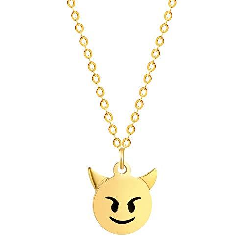 Lady Bling Bling Damen Halskette mit Anhänger aus Edelstahl mit Emaille Emoticon Smiley Affe Kackhaufen inkl. Etui (Smiley Teufel, Gold)