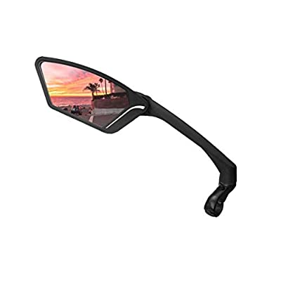 MEACHOW New Scratch Resistant Glass Lens,Handlebar Bike Mirror, Rotatable Safe Rearview Mirror, Bicycle Mirror,(Sliver Left Side) ME-010LS