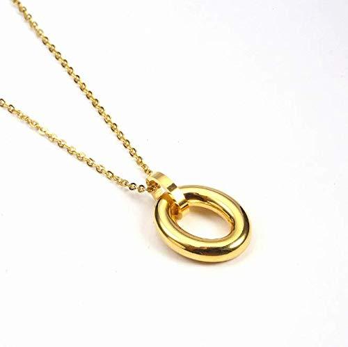 Roestvrij stalen ketting ovale dubbele ring hanger titanium stalen ketting dames eenvoudige sleutelbeen accessoires goud