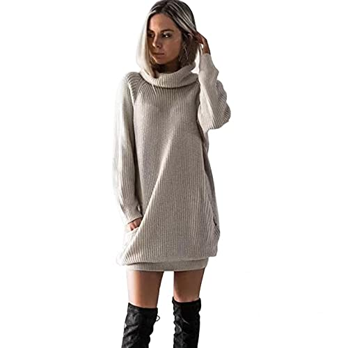 Lialbert Damen Elegant Pulloverkleid Strickkleid Langarm, Pullikleid Lang Strickpullover Minikleid Wickelkleid Winterkleid Feinstrick Slim Fit...