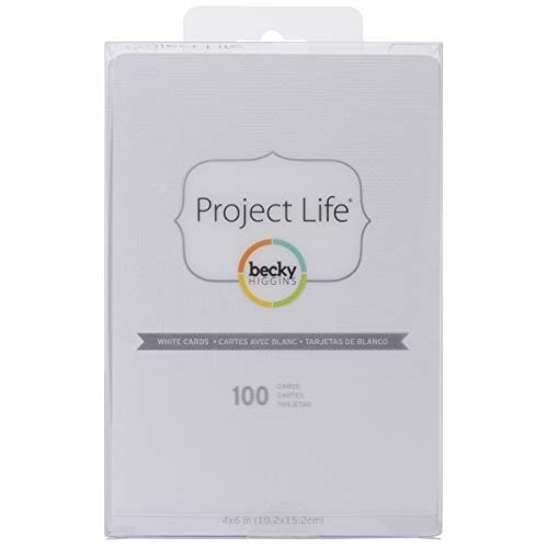 Becky Higgins 380071 Project Life Cards Accessories-4 x 6-White (100 Pieces)