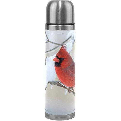 Like-like Cardenal norteño Rama de Nieve Botella de Agua con Aislamiento Acero Inoxidable Doble Pared, Invierno Rojo Pájaro Rojo Termo de vacío Botellas