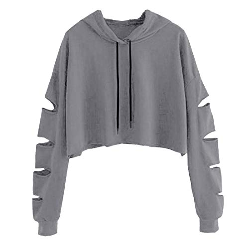 Shujin Damen Straße Schulterfrei Pullover Distressed Cropped Top Kurz Sweatershirt Cut Out Hohle Loch Langarmshirt Bauchfrei Hoodie Crop Jumper (S/EU 36, Grau mit Kapuze)
