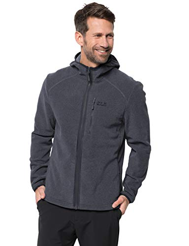 Jack Wolfskin Herren Skywind Hooded Fleecejacke, Ebony, 4