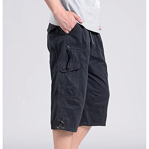 Pantalones Cortos De Hombre Pantalones Cortos para Hombre Combat Man Long Army Green Baggy Short Male 4XL Darkgrey