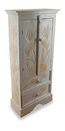 livasia Balinesischer 2 türiger Schrank mit Zwei Schubladen, Landhausstil, Küchenschrank, Wohnzimmer Schrank, Kommode, aus Bali (Handarbeit) (weiß)