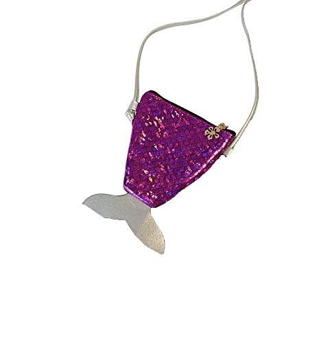 SRTYZ Meerjungfrau Pailletten Geldbörse Lila Meerjungfrau Tasche Kleingeldbörse Kleine Mädchen Brieftasche Umhängetasche für Kleine Lagerung Geeignet