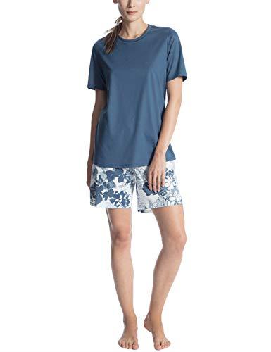 CALIDA Damen Soft Jersey Fun Kurz Pyjama Zweiteiliger Schlafanzug, Mehrfarbig (Nimes Blue 487), Large