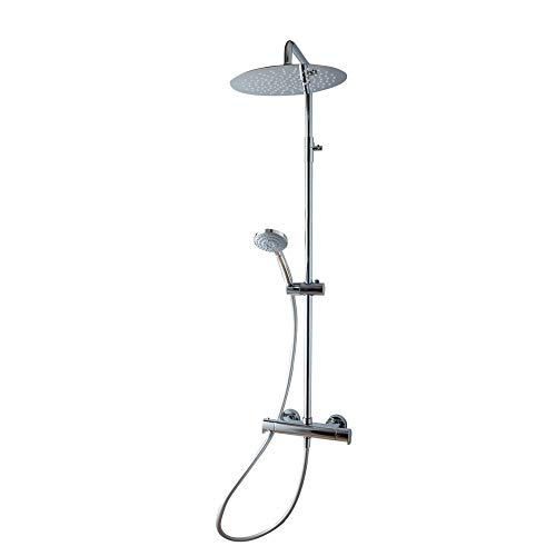 Galindo Aroha 46059500 Columna de ducha Termostática Rociador 300mm con accesorios de ducha Plata Cromado