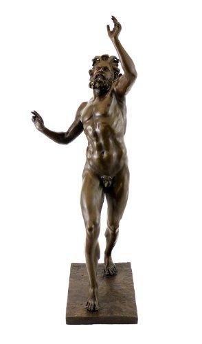 Kunst & Ambiente - Fauno Danzante aus Pompeji/Tanzender Faun Skulptur - signiert - Milo - 100% Bronze - Faun Statue - Casa del Fauno Bronzefigur
