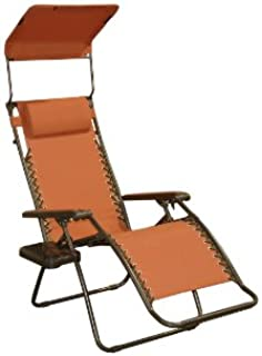 Bliss Hammocks Zero Gravity Chair with Canopy and Side Tray, Terracotta, 26