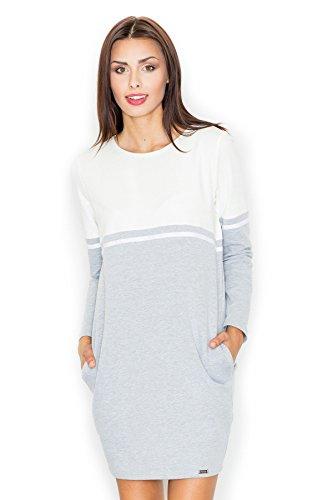 Figl Schachtel-Kleid mit Muster und Taschen, Größe S, Ecru-Grau