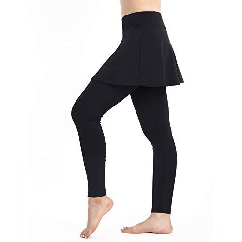 Leggings da donna con gonna da tennis e pantaloni da corsa, sportivi, con tasche, taglia L, colore: nero
