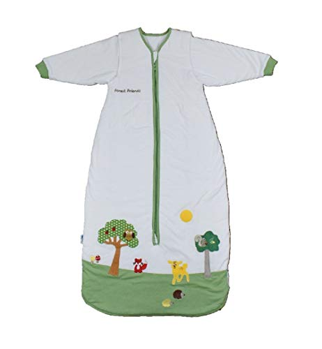 Schlummersack Ganzjahres Kinderschlafsack gefüttert in 2.5 Tog MIT ABNEHMBAREN Ärmeln - Waldtiere - 130 cm / 3-6 Jahre