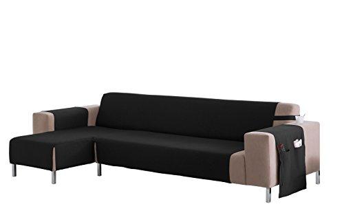 Martina Home Cubre sofá Chaise longue modelo Betta - Tela - Brazo izquierdo - color Negro - medida 240 cm ancho.