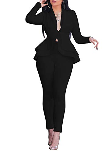 Salimdy Sexy 2 Piece Outfits for Women Long Sleeve Solid Blazer with Pants Casual Elegant Business Suit Sets Black S