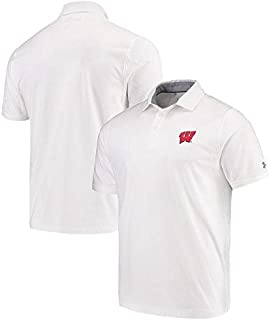 Under Armour Under Armour Wisconsin Badgers White Charged Cotton Performance Tri-Blend Polo シャツ ポロシャツ 【並行輸入品】