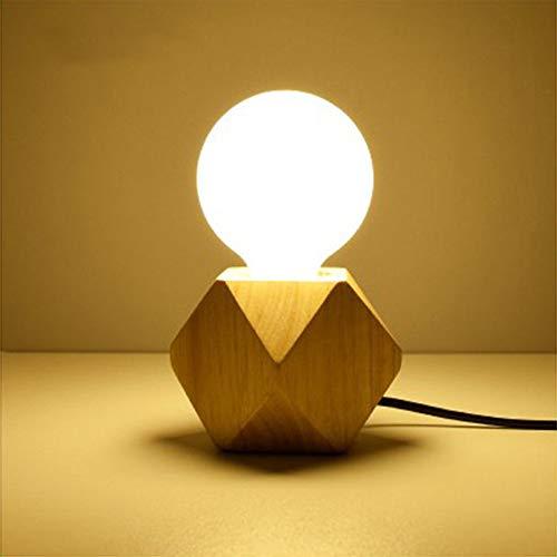 Lámpara de mesa de madera maciza E27 LED lámpara de mesa retro industrial lámpara decorativa creativa moderna para salón, dormitorio, comedor, restaurante, pasillo, cocina, oficina, cafetería