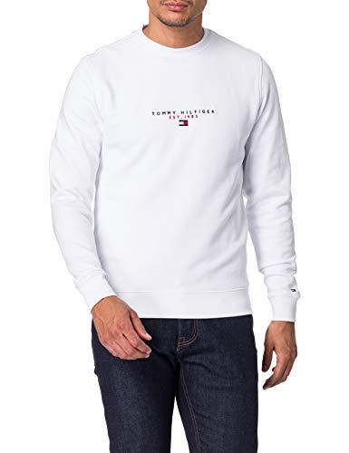 Tommy Hilfiger Herren Essential Tommy Crewneck Pullover, weiß, M