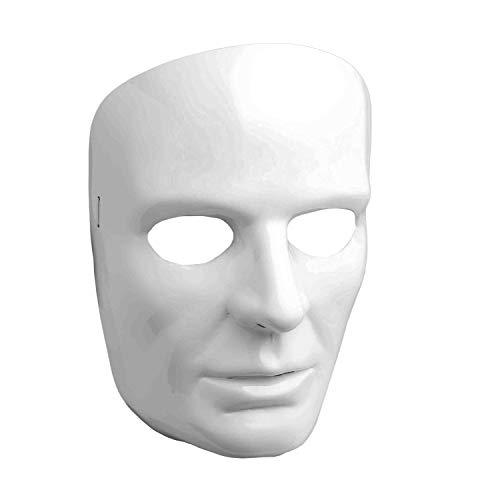 Forum Novelties 67838 Men's White Full Face Mask, One Size, Pack of 1