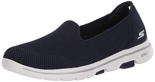 Skechers Women's GO Walk 5-Blessed Sneaker, Navy/White, 5 Medium US