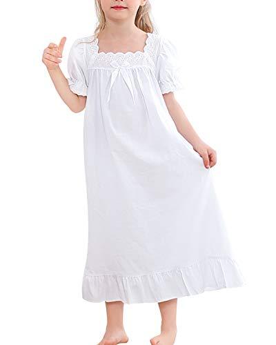 BOOPH Girls Dress Kids White Casual Dress Cosplay 6-7 Years Square White Short