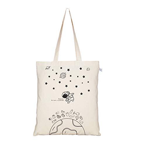 EcoRight Canvas Tote bag for Women, Reusable Grocery Bag, Cute Bags, Printed Cotton Shopping bag, Beach bags, Gift bags, Bridesmaids Tote Bags, Book Bag | Houston | 0101B01