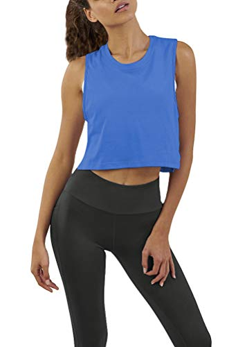 Mippo Womens Workout Crop Tops Muscle Tank Workout Yoga Crop Top Activewear Tank Tops Athletic Tops Cropped Tshirts Exercise Fitness Running Clothes for Women Blue M