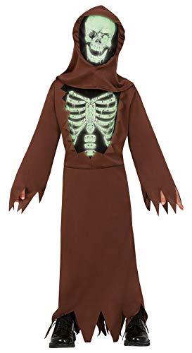 Fiestas Guirca Fluoreszierendes Skelett-Tunika-Kostüm für Mädchen mit Horror-Verkleidung
