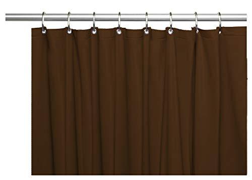 Venice Elegant Home Heavy Duty Vinyl Shower Curtain Liner with 12 Metal Grommets Dark Brown