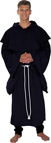 Maylynn 18109 - Disfraz de Monje Medieval, Hombre, Abad, Negro, 3 Piezas, Talla: XXL