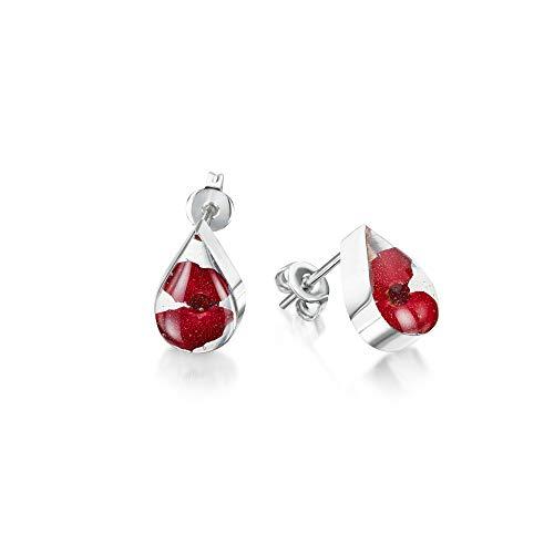 Poppy stud earrings by Shrieking Violet. Sterling silver teardrop stud earrings handmade with real flowers. Jewellery gifts for her