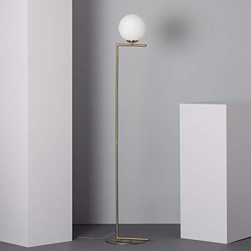LEDKIA LIGHTING Lámpara de Pie Moonlight 1650x320x290 mm Dorado E27 Casquillo Gordo Aluminio - Cristal Decoración Salón, Habitación, Dormitorio