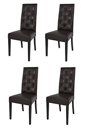 t m c s Tommychairs - Set 4 sillas Chantal para Cocina, Comedor, Bar y Restaurante, solida Estructura en Madera de Haya y Asiento tapizado en Polipiel marrón