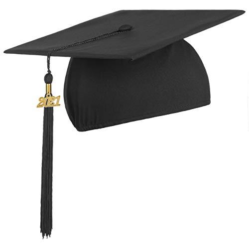 Lierys Doktorhut (Studentenhut) 2021 Jahreszahl Anhänger - 54-61 cm - Hut für Abschlussfeiern vom Studium, Universität, Hochschule, Abitur - Absolventenhut in schwarz