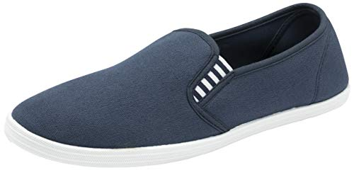 Mens Slip on Canvas Summer Shoes (Navy White, 11)