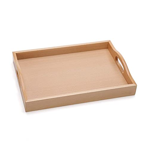 Daily Accessories Creative Rectangular Wooden Tea Cup Tray Living Room Fruit Cutlery Tray (Size : S)
