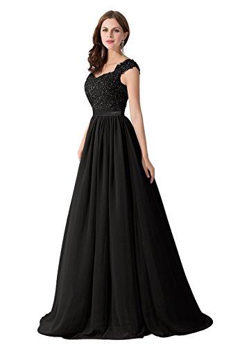 Damen Elegant Chiffon Herzform Abendkleid Ballkleid mit Spitze lang Schwarz 32