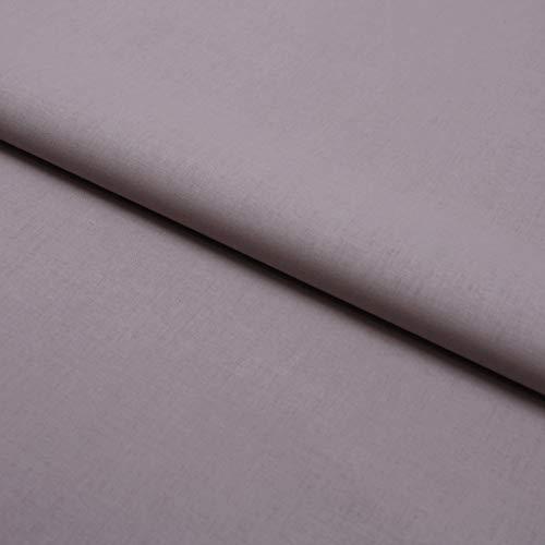 Hans-Textil-Shop Stoff Meterware Baumwolle Linon (Einfarbig, Uni, Schadstoffgeprüfter Stoff, Pflegeleicht, 1 Meter) (Grau)