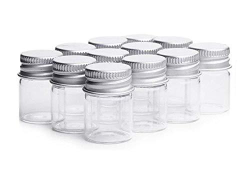 Minibotellas de Vidrio Transparente de 5 ml con Tapa de Tornillo de Aluminio Botes de Muestra vacíos y Fuertes para Botellas de Mensaje muestras