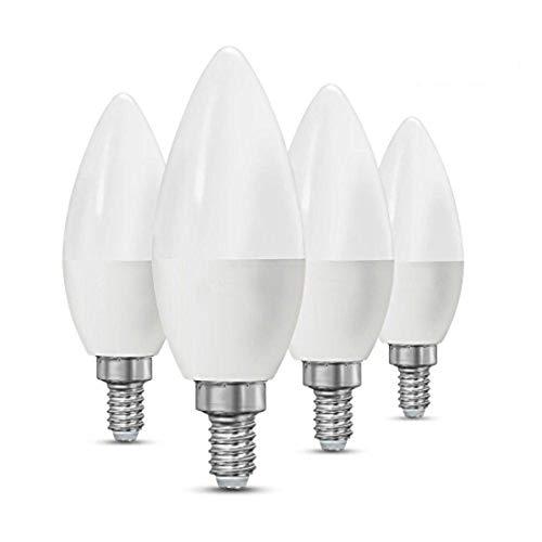 CTKcom 5W E14 Base LED Candelabra Bulbs(4 Pack)- 60Watt Light Bulbs Equivalent E14 Base C37 Daylight White 6000K LED Candle Light Bulb,Ceiling Fan Lights,Decorative LED Bulb,650LM,UL-Listed,AC 85-265V