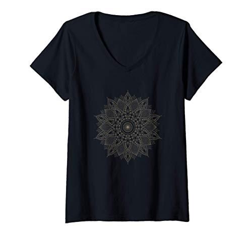 Mujer Mandala Yoga Meditación Entrenamiento para el yo interior Camiseta Cuello V
