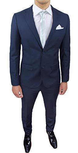 Evoga Abito Completo Uomo Sartoriale Class Elegante Vestito Smoking Cerimonia (54, Blu Scuro)