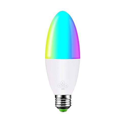 Bombilla LED Smart Candelabro, WiFi bombilla 6 W regulable, control remoto del teléfono, bombilla de control de voz compatible con Google Home, 16 millones de colores RGB ajustable (E14 E27 B22 E26)